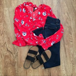 H&M crop top floral blouse with ruffles